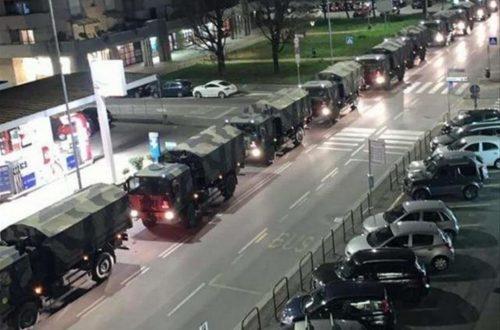 Covid -19 ... un Anno fa Bergamo camion esercito con le bare